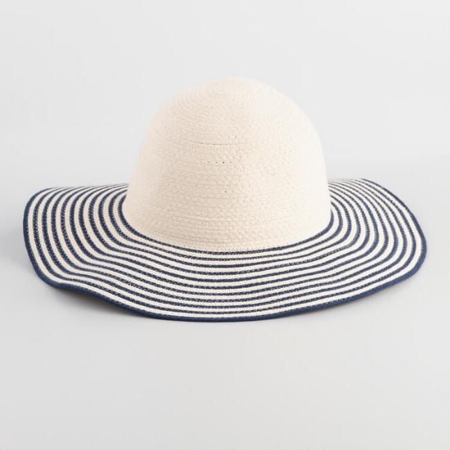 Black and White Striped Floppy Hat