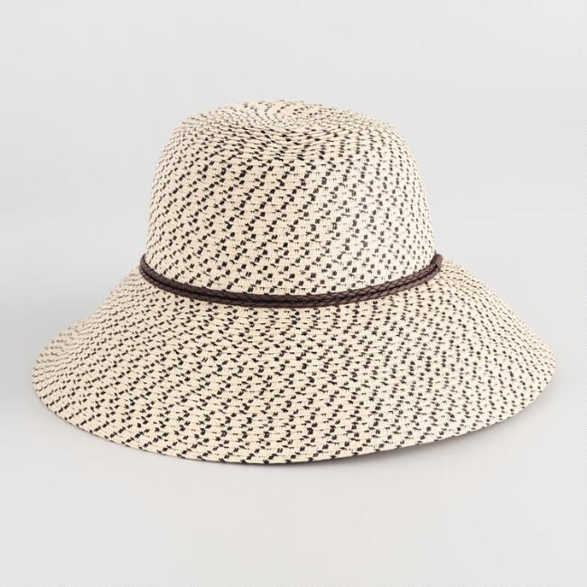 Natural and Black Woven Bucket Hat  f0bbf8c8483