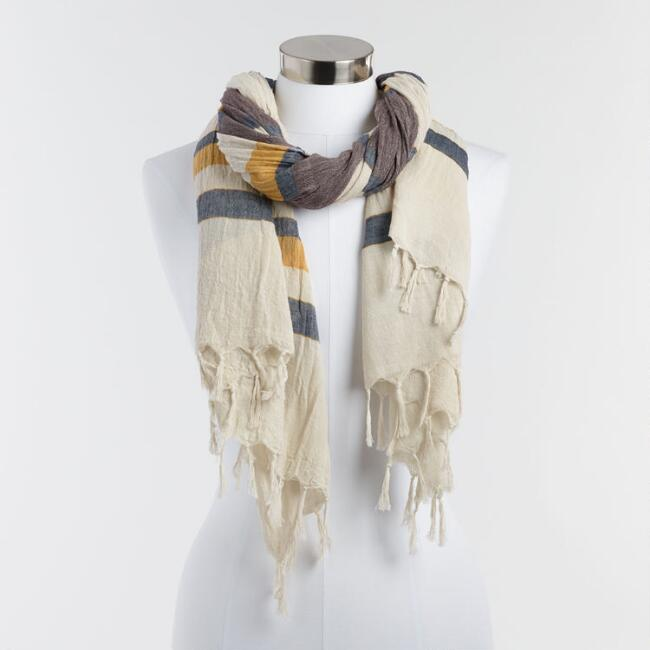 Oversized Yellow and Gray Woven Scarf