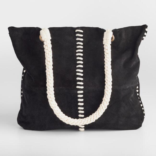 Black Suede Rope Tote Bag