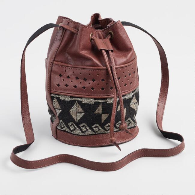 Brown Leather Jacquard Crossbody Bucket Bag
