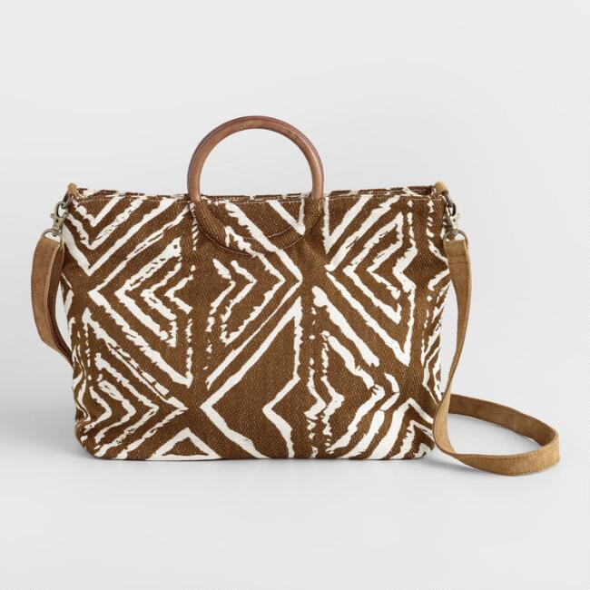 White and Brown Geometric Crossbody Bag