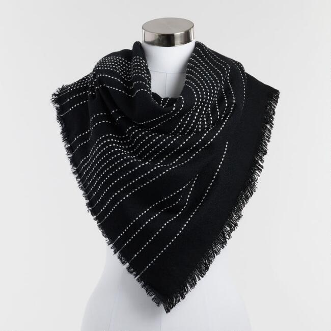 Oversized Black and White Blanket Scarf