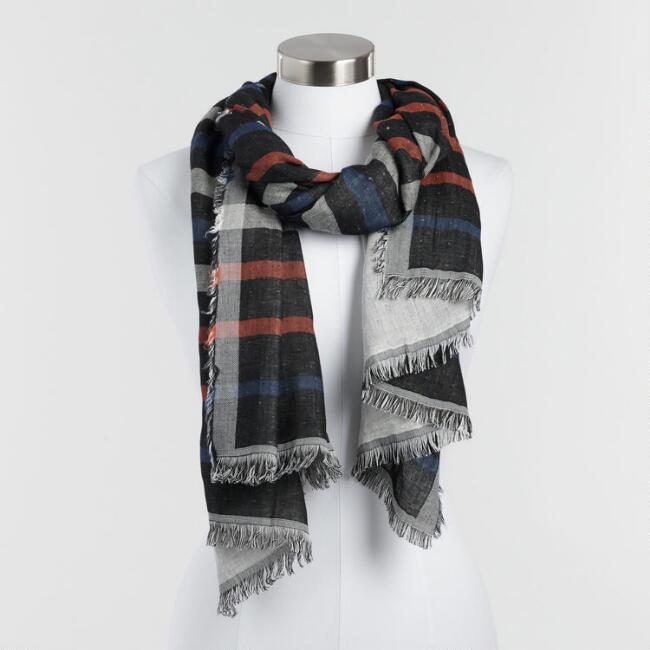 Rust and Navy Stripe Reversible Scarf