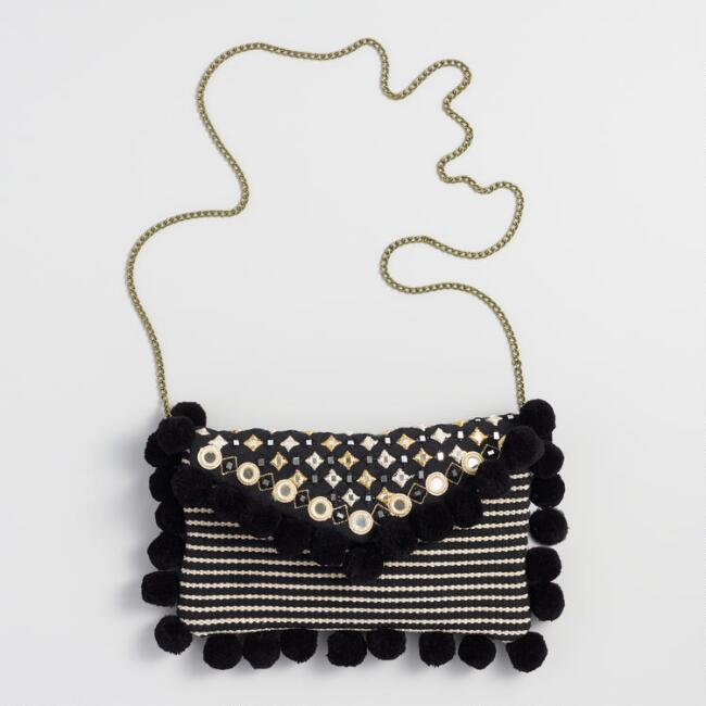 Black and White Pom Pom Mirror Clutch