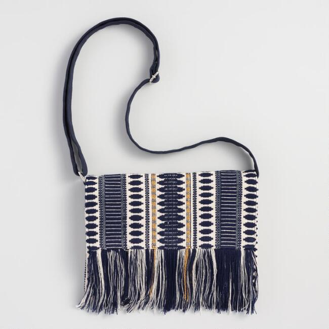 Navy and White Stripe Crossbody Bag
