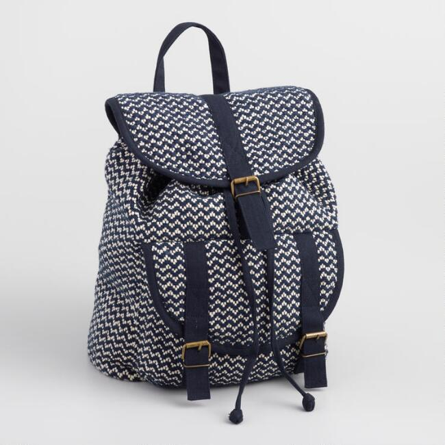 Navy and White Zigzag Backpack