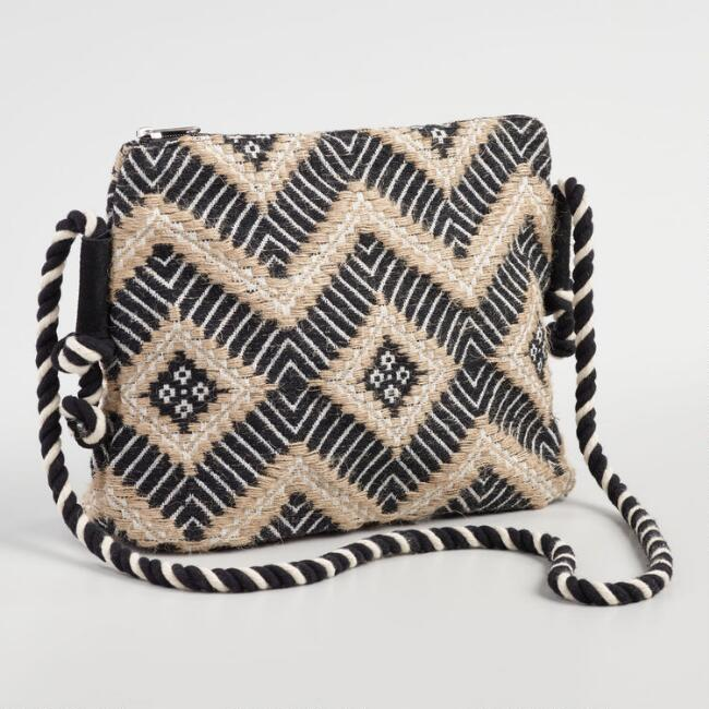 Black and Ivory Jute Woven Crossbody Bag