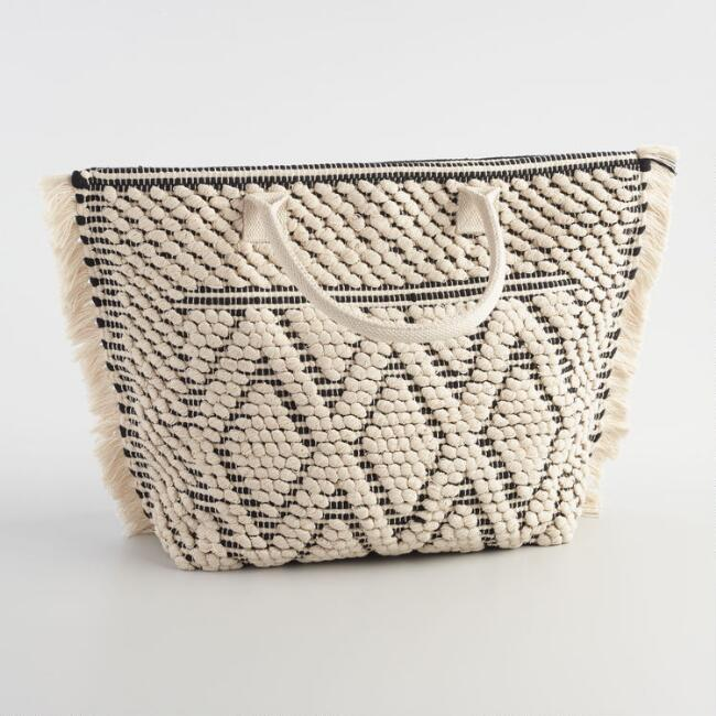 Ivory and Gray Woven Diamond Tote