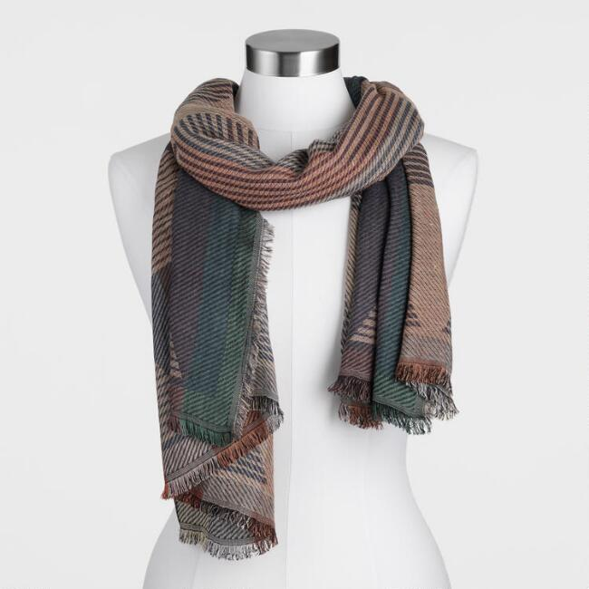 Multicolored Geometric Jacquard Scarf