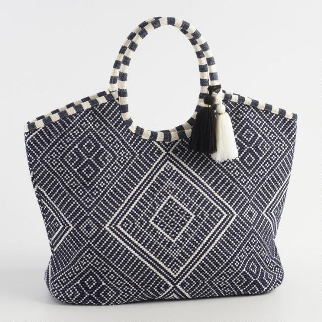 Navy and White Jacquard Tote