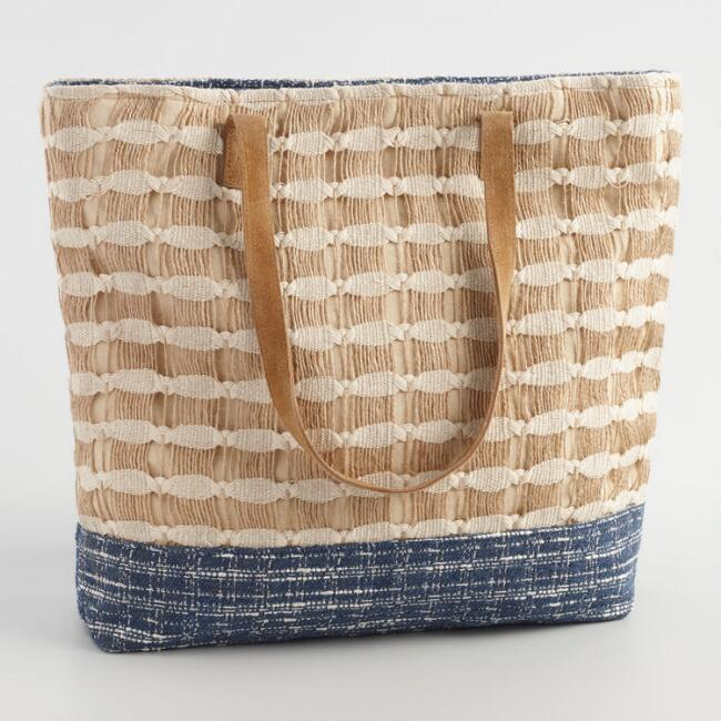 Natural Jute Striped Tote Bag