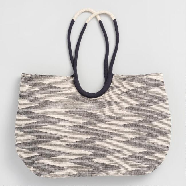 Black and White Zigzag Tote Bag