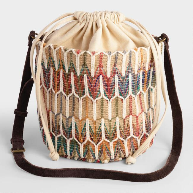 Multicolored Jute Woven Crossbody Bucket Bag