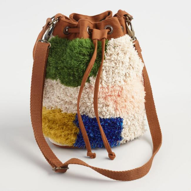 Fluffy Colorblock Crossbody Bucket Bag