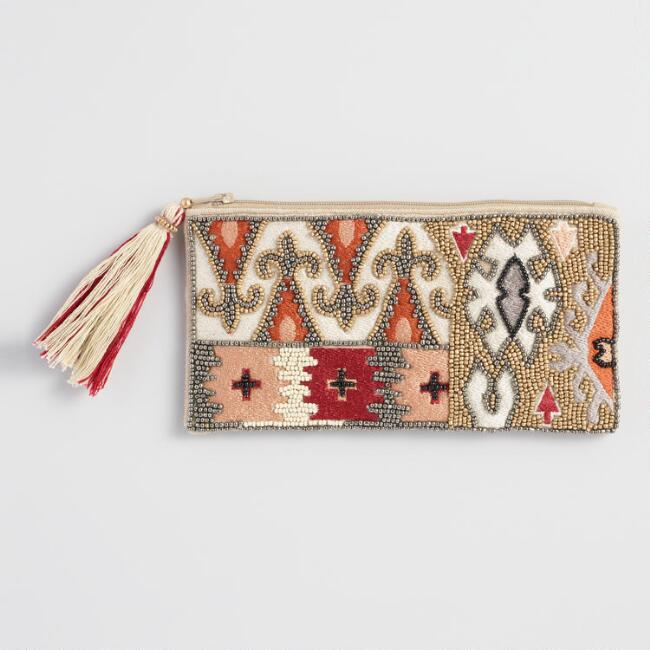 Warm Abstract Beaded Pouch