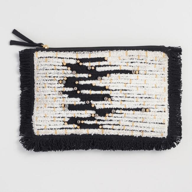 Black and White Beaded Clutch