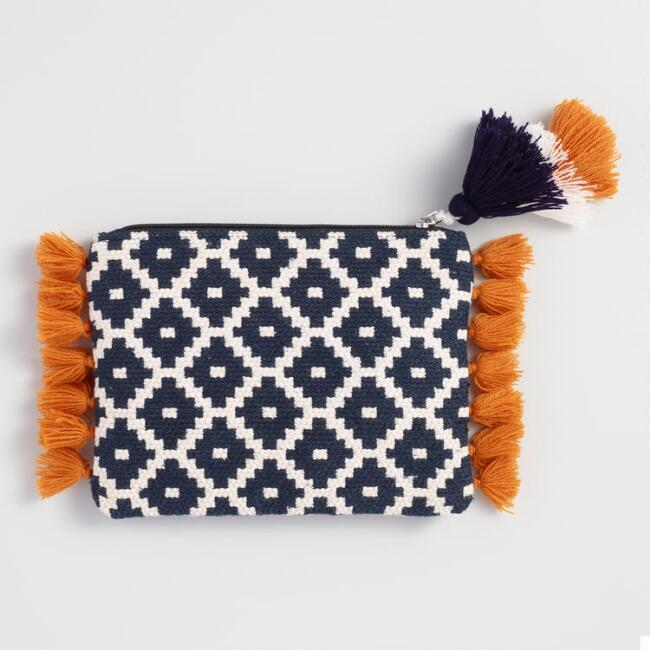 Navy Blue and White Woven Honeycomb Clutch