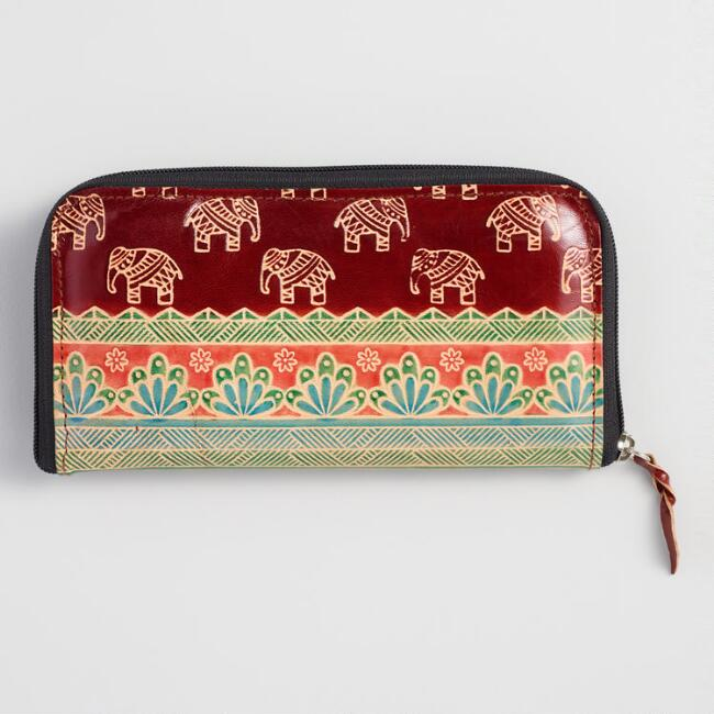 Wine Red Elephant Leather Wallet