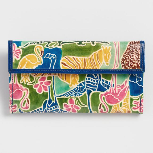 Tropical Plants and Animals Leather Wallet