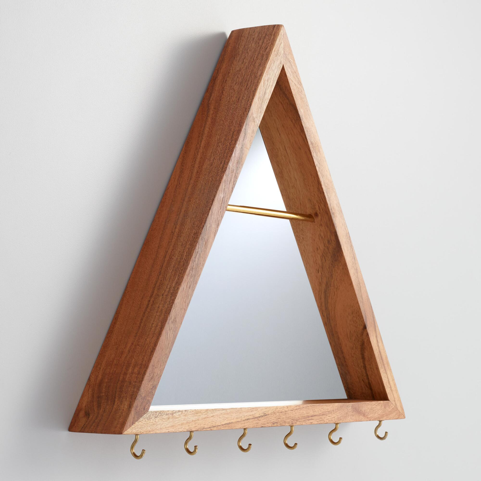 Wood Triangle Mirror Wall Jewelry Holder by World Market