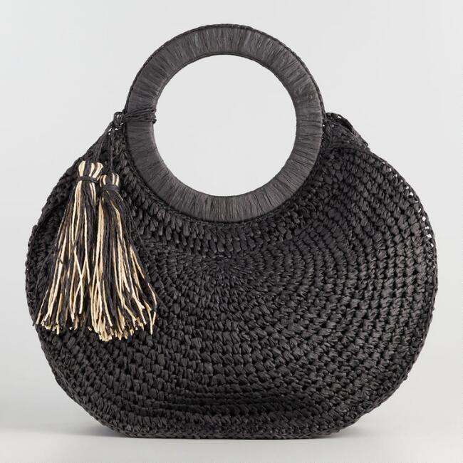 Black Round Straw Tote with Black and Ivory Tassels
