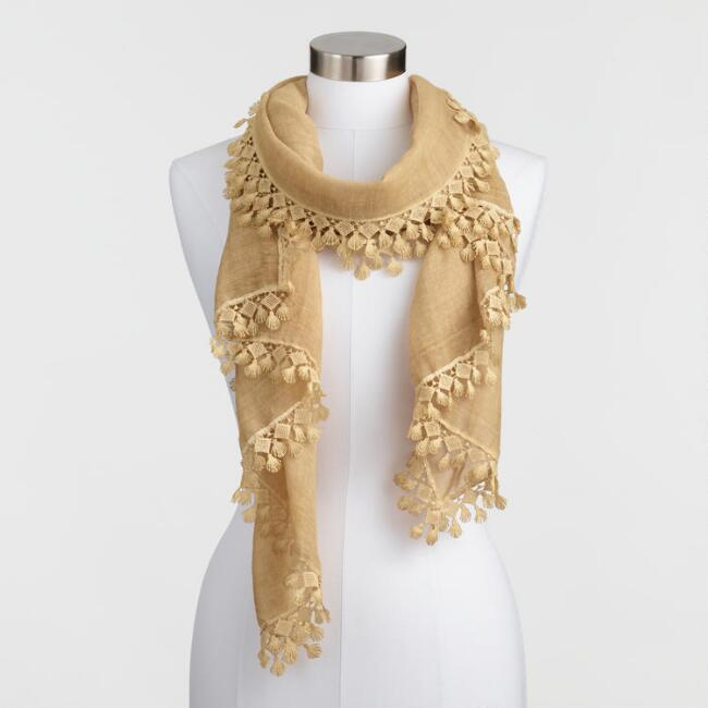 Mustard Yellow Scarf with Lace Border