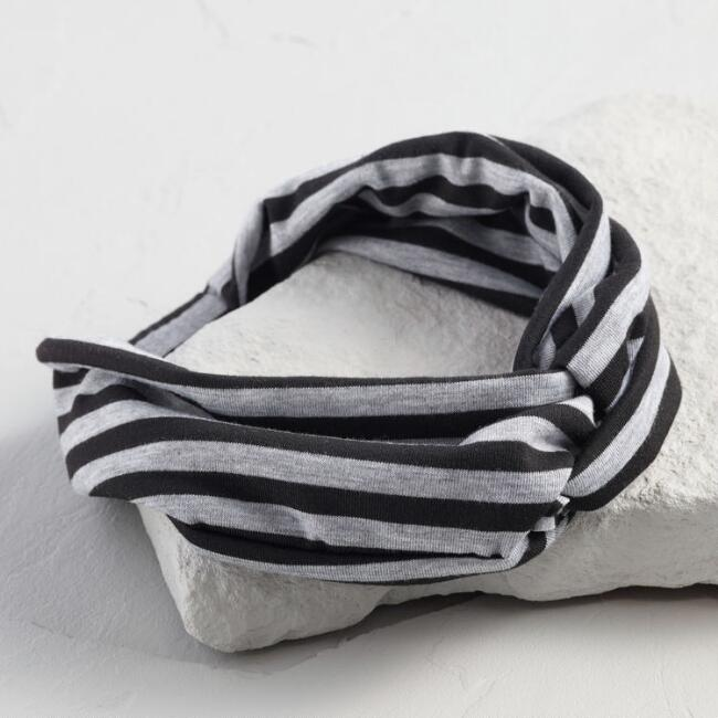 Black and Gray Stripe Turban Headband