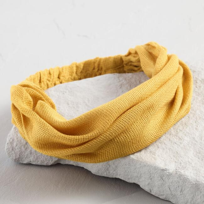 Mustard Yellow Open Weave Wide Headband