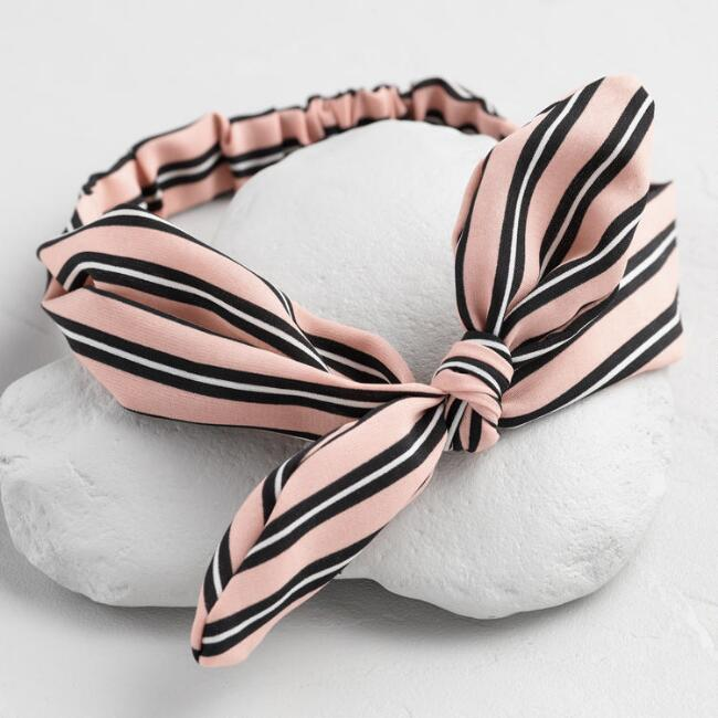 Striped Pink Bow Headband