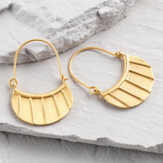 Small Gold Etched Hoop Earrings