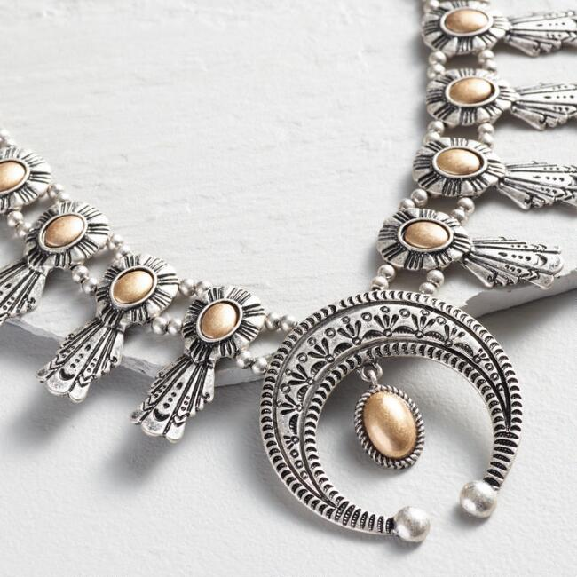 Silver and Gold Squash Blossom Statement Necklace