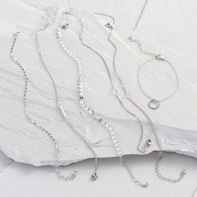 Silver Chain Bracelets Set of 6