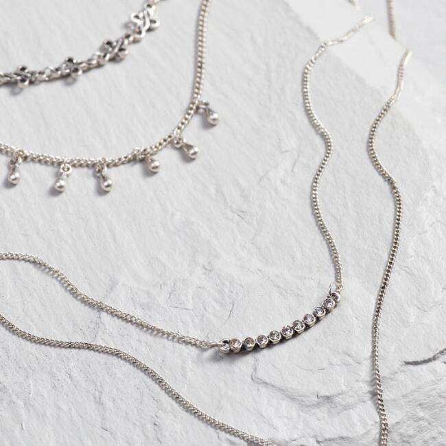 Silver Multilayer Lariat Necklace