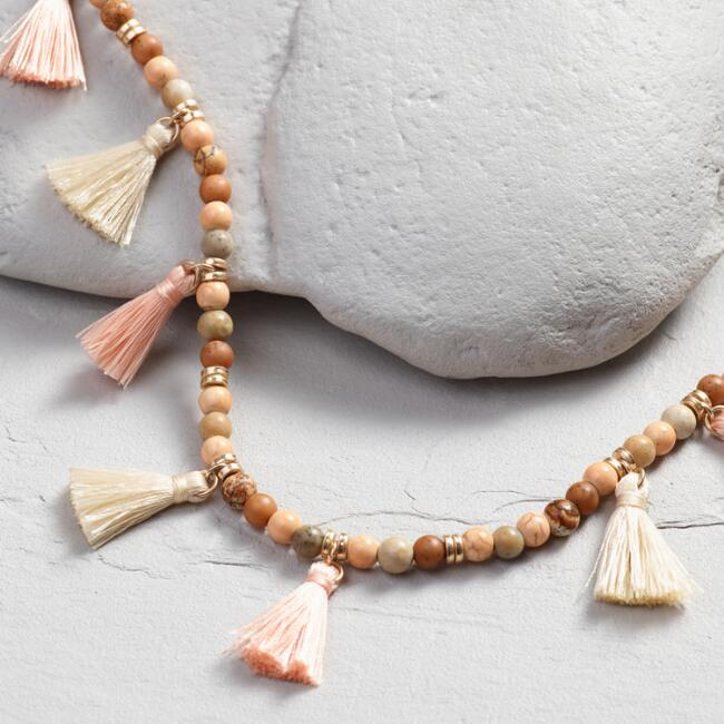 Brown Beaded Blush and Ivory Tassel Necklace