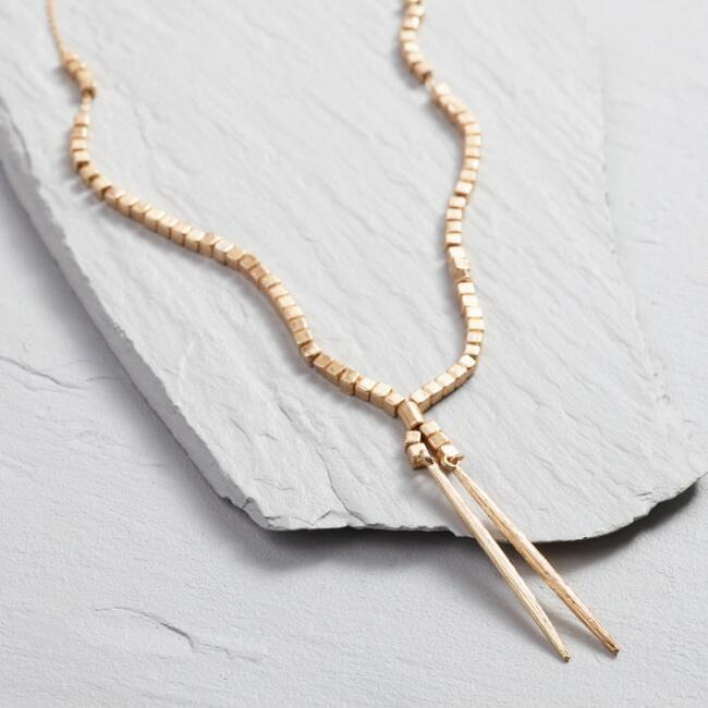 Delicate Gold Cube Lariat Necklace