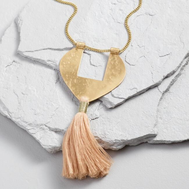 Long Gold Pendant Necklace with Natural Tassel