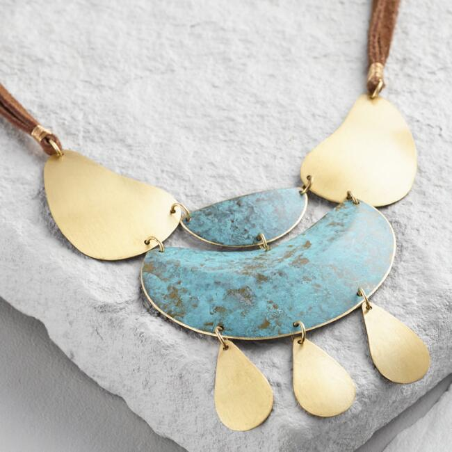 Gold and Green Patina Statement Necklace