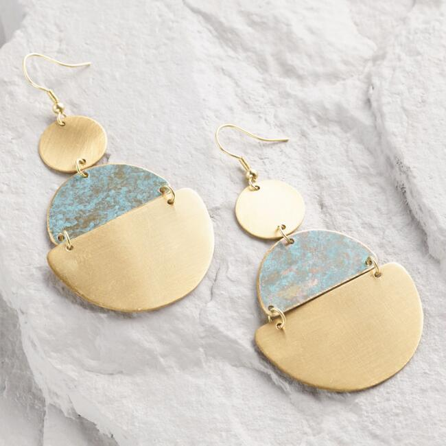 Gold and Green Patina Drop Earrings