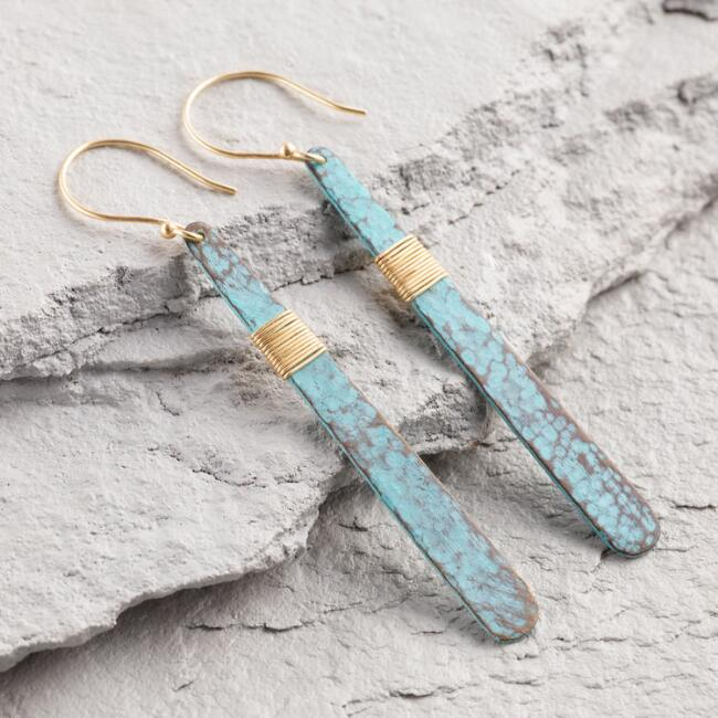Green Patina and Gold Drop Earrings