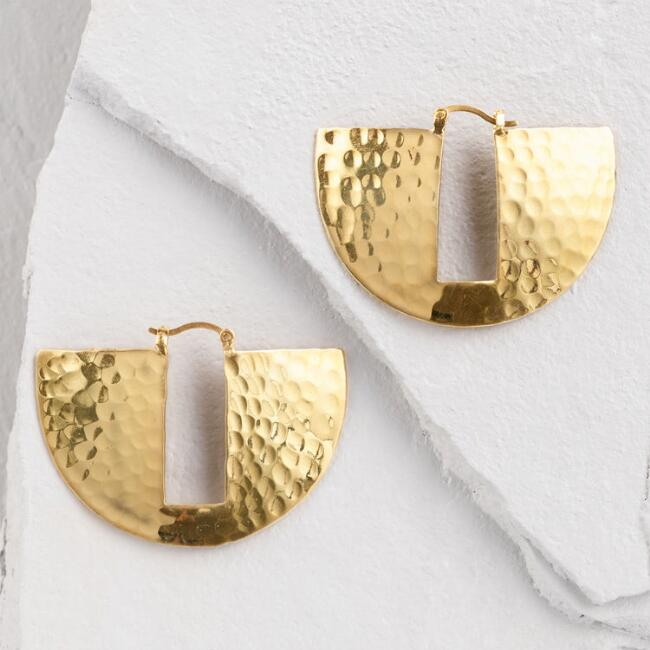 Gold Hammered Keyhole Hoop Earrings