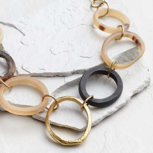 Gold and Horn Ring Statement Necklace