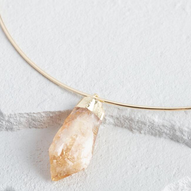 Gold Citrine Stone Collar Necklace