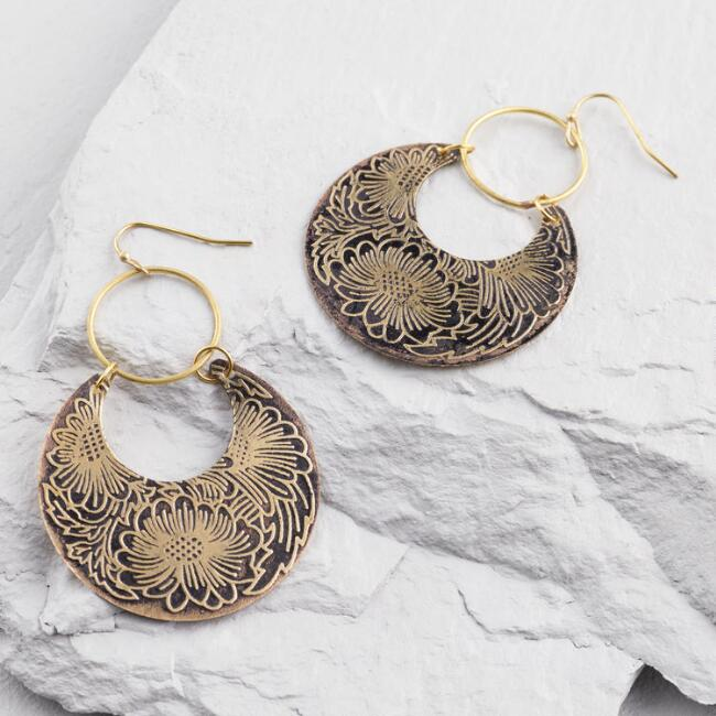 Gold Crescent Floral Stamped Hoops