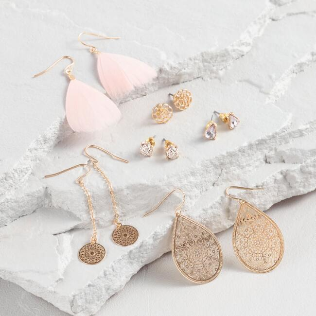 Pink and Gold Stud and Drop Earrings Set of 6