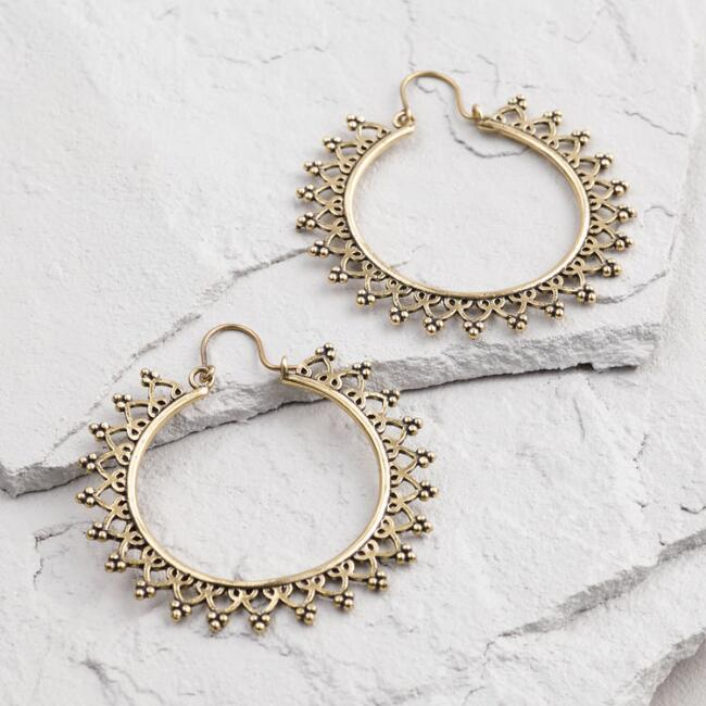 Large Gold Etched Hoop Earrings