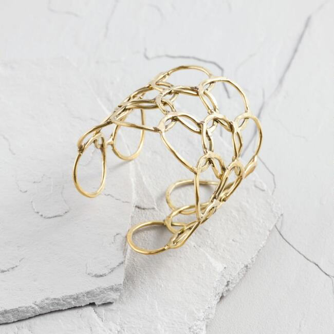 Large Hammered Gold Circles Cuff Bracelet