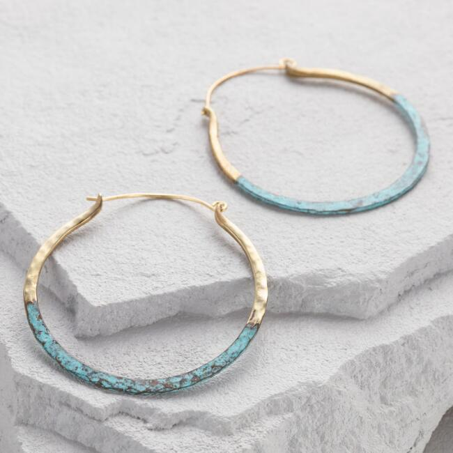 Gold and Green Patina Hoop Earrings