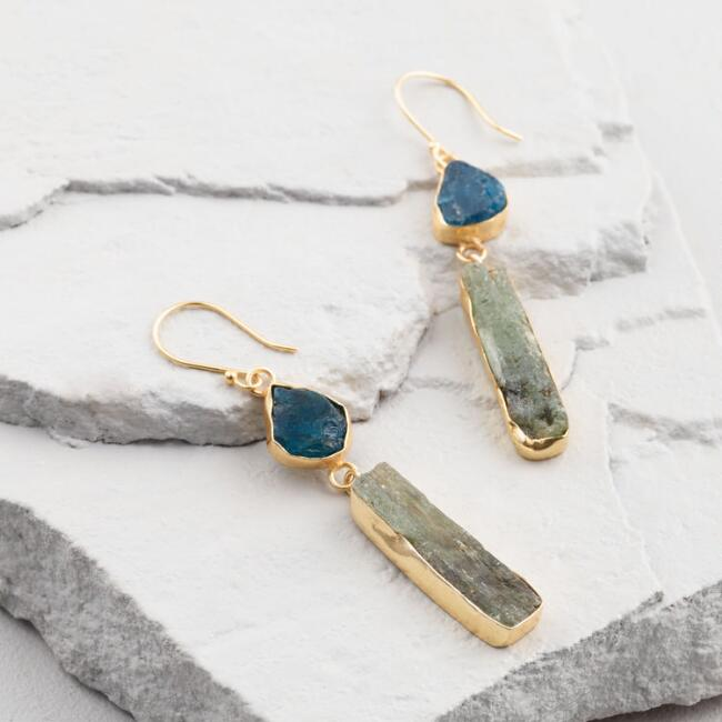 Green Agate Double Drop Earrings