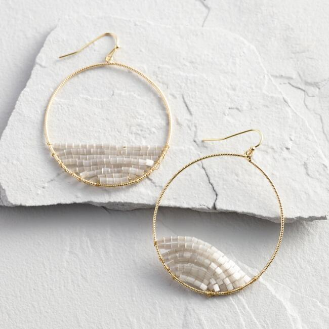 Gray Beaded Gold Circle Hoop Earrings